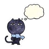 tragender Schal der lustigen Katze der Karikatur mit Gedankenblase Stockfotografie
