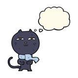 tragender Schal der lustigen Katze der Karikatur mit Gedankenblase Lizenzfreie Stockfotografie