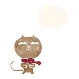 tragender Schal der lustigen Katze der Karikatur mit Gedankenblase Stockbild