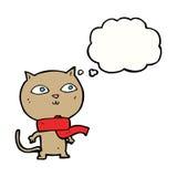 tragender Schal der lustigen Katze der Karikatur mit Gedankenblase Stockfotos
