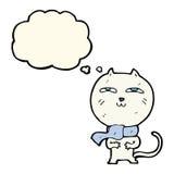 tragender Schal der lustigen Katze der Karikatur mit Gedankenblase Stockbilder
