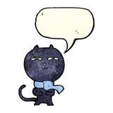 tragender Schal der lustigen Katze der Karikatur mit Spracheblase Lizenzfreie Stockfotos