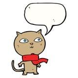 tragender Schal der lustigen Katze der Karikatur mit Spracheblase Lizenzfreies Stockbild
