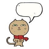 tragender Schal der lustigen Katze der Karikatur mit Spracheblase Stockfotos