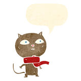 tragender Schal der lustigen Katze der Karikatur mit Spracheblase Stockfoto