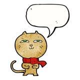 tragender Schal der lustigen Katze der Karikatur mit Spracheblase Stockbild