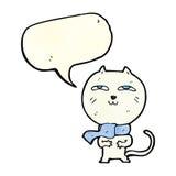 tragender Schal der lustigen Katze der Karikatur mit Spracheblase Lizenzfreie Stockfotografie