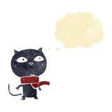 tragender Schal der schwarzen Katze der Karikatur mit Gedankenblase Lizenzfreie Stockfotos