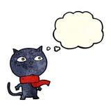 tragender Schal der schwarzen Katze der Karikatur mit Gedankenblase Stockbild