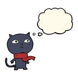 tragender Schal der schwarzen Katze der Karikatur mit Gedankenblase Lizenzfreie Stockbilder
