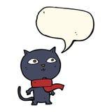 tragender Schal der schwarzen Katze der Karikatur mit Spracheblase Stockfotos