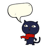 tragender Schal der schwarzen Katze der Karikatur mit Spracheblase Lizenzfreie Stockfotografie