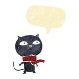 tragender Schal der schwarzen Katze der Karikatur mit Spracheblase Stockfotografie