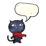 tragender Schal der schwarzen Katze der Karikatur mit Spracheblase Lizenzfreie Stockfotos