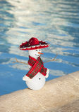 Tragender Sombrero des Miniaturschneemannes durch ein Pool Stockfotos