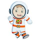 Tragendes Astronautenkostüm des Karikaturjungen Lizenzfreies Stockfoto