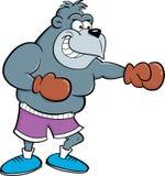 Tragendes Boxhandschuhlochen des Karikaturgorillas Stockbild