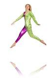 Tragendes Clownkostüm der Frau lokalisiert Stockfotos