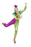 Tragendes Clownkostüm der Frau lokalisiert Stockfoto