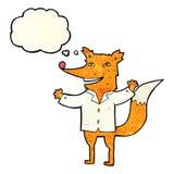 tragendes Hemd des glücklichen Fuchses der Karikatur mit Gedankenblase Lizenzfreies Stockbild