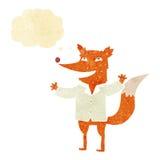 tragendes Hemd des glücklichen Fuchses der Karikatur mit Gedankenblase Stockfotografie