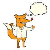 tragendes Hemd des glücklichen Fuchses der Karikatur mit Gedankenblase Lizenzfreie Stockfotos