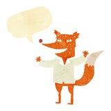 tragendes Hemd des glücklichen Fuchses der Karikatur mit Spracheblase Stockfoto