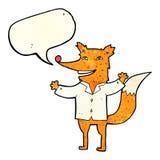 tragendes Hemd des glücklichen Fuchses der Karikatur mit Spracheblase Lizenzfreie Stockfotografie
