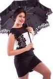 Tragendes Kleid der Frau mit Regenschirm Lizenzfreie Stockbilder