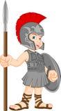Tragendes römisches Soldatkostüm des Jungen Stockbild