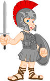 Tragendes römisches Soldatkostüm des Jungen Lizenzfreies Stockbild