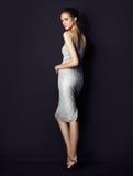 Tragendes silbernes Kleid des hübschen Brunette auf schwarzem Hintergrund Stockbild