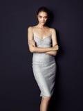 Tragendes silbernes Kleid des hübschen Brunette auf schwarzem Hintergrund Stockbilder