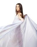 Tragendes weißes Kleid der reizvollen Frau getrennt Lizenzfreie Stockbilder