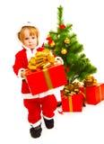 Tragendes Weihnachtsgeschenk Stockfoto
