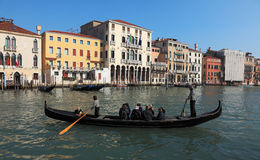 Traghetti. Venice,Italy- February 25th, 2011: The image shows a gondola - traghetti used to transport foot passengers across the Grand Canal at certain points Stock Images