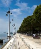 Traghetti del cavo della sosta di nazioni, Lisbona Portogallo Fotografia Stock