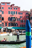 Traghetto boat with tourists on Grand Canal Royalty Free Stock Photography