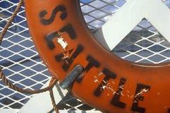Traghetto del conservatore di vita a bordo all'isola di Bainbridge, WA fotografia stock libera da diritti