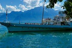 Traghetto del lago Lemano a Clarens Fotografia Stock Libera da Diritti