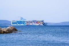 Traghetto di Moby in Italia Fotografia Stock Libera da Diritti
