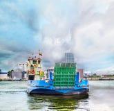 Traghetto nel porto di Klaipeda Fotografia Stock