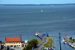 Traghetto nella città polacca di Frombork Fotografie Stock