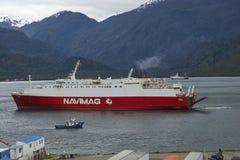 Traghetto in Puerto Chacabuco, Patagonia, Cile Fotografia Stock Libera da Diritti