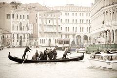 Traghetto by Rialto bridge Royalty Free Stock Image