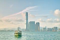Traghetto sul porto di Hong Kong Fotografia Stock
