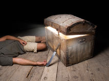 Tragic adventure. Tragic ending of adventure quest for a buried treasure Royalty Free Stock Photo