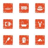Tragic role icons set, grunge style. Tragic role icons set. Grunge set of 9 tragic role vector icons for web isolated on white background Royalty Free Stock Photography