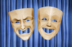 Tragicomic Theater Masks. Comedian and tragedy grotesque masks on curtain background. 3D rendered image vector illustration