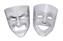 Tragicomic Theater Masks. Comedy and tragedy grotesque masks. 3D rendered image stock illustration